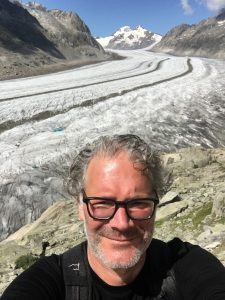 Me with the Great Aletsch Glacier (Switzerland) in the background.